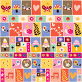 Cute Flowers, Birds, Mushrooms & Snails Collage Pattern Royalty Free Stock Photography - 30666207