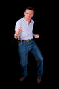 Middle Age Man Doing Funny Dance Pose Royalty Free Stock Photography - 30674407