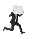 Business Man Jumping And Holding Billboard Stock Photography - 30699702