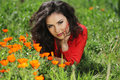 Woman In Red Resting On Green Grass, Outdoors Portrait Royalty Free Stock Photo - 30709685