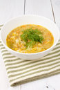 Yellow Pea Soup In Bowl On White Wooden Background Stock Photography - 30711702