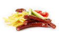 Grilled Sausages And French Fries Stock Image - 30714271