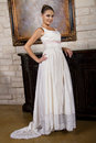 Beautiful Bride In Wedding Gown Wearing A Necklace Stock Image - 30736351