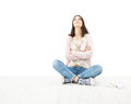 Beautiful Girl Teenager Thinking Sitting On Floor. White Backgro Royalty Free Stock Images - 30758269