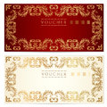Voucher (gift Certificate) Template. Gold Pattern Royalty Free Stock Photography - 30758537