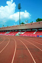 The Empty Small Stadium And Running Track Royalty Free Stock Images - 30767189