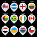 Map Marker With Flag-set Eghth Royalty Free Stock Photography - 30774887