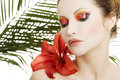 Beautiful Woman With A Red Lily Royalty Free Stock Photos - 30783538