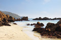 Coastal Scene In Guernsey With Sandy Beach Royalty Free Stock Image - 30799646