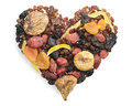 Different Dried Fruits In The Shape Of Hearts Royalty Free Stock Image - 30834616
