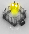 Yellow Bulb Light With Padlock Closed Fence Concept Stock Image - 30843841
