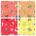 Seamless Floral Pattern & Warm Colored Background Stock Photos - 30850583