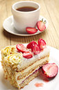 Strawberry Cake And Coffee Royalty Free Stock Image - 30863196
