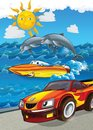 The Vehicle And The Ship - Illustration For The Children Royalty Free Stock Photos - 30885788