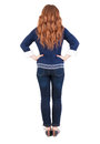 Back View Of Standing Young Beautiful  Redhead Woman Royalty Free Stock Photo - 30893455