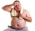 Overweight Man Resting, Tired After Training, With Hand On Foreh Stock Photos - 30923433