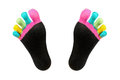 Two Feet In Happy Socks With Toes Stock Photography - 30927702