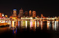 Night Lights At Brisbane City Reflecting In River Royalty Free Stock Image - 30945256