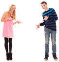 Brother And Sister Shows On Something Royalty Free Stock Image - 30956816