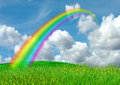 Rainbow In The Blue Sky Stock Photo - 30962410