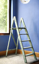 Ladder And Blue Wall Stock Photography - 30964382