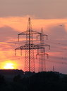 High Voltage Line In Sundown Stock Images - 30985974