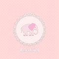 Baby Shower Card For Baby Girl, With Elephant And Lace Frame Royalty Free Stock Photo - 30998735
