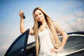 Girl With Car Key Stock Photography - 31003692