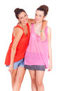 Young Couple Female Friends Laughing On White Stock Photos - 31022863