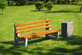 Park Bench And Waste Bin Stock Images - 31023144