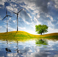 Spring Landscape With Wind Turbine Stock Image - 31025121