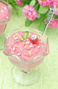 Raspberry Mousse Decorated With Mint And Fresh Raspberries Stock Photography - 31027592