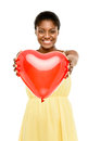 Cute African American Woman Holding Red Balloon Heart Valentines Royalty Free Stock Photography - 31028927