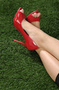Woman Wearing Red Shoes Royalty Free Stock Photography - 31044537