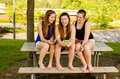 Pre-teen Girls Texting While Hanging Out In Front  Stock Photos - 31046533