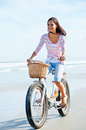 Beach Bicycle Woman Stock Photos - 31057383