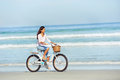 Beach Bicycle Woman Royalty Free Stock Image - 31057396