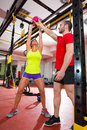 Crossfit Fitness Kettlebells Swing Exercise Personal Trainer Royalty Free Stock Images - 31058669