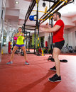 Crossfit Fitness Kettlebells Swing Exercise Workout At Gym Stock Photo - 31058710