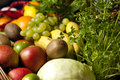 Wicker Basket With Fruit And Vegetables Royalty Free Stock Photos - 31077228