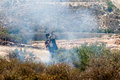 Fire In A Palestinian Field By Wall Of Separation Stock Photos - 31088493