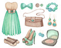 Watercolor Dresses And Accessories Stock Photography - 31126372