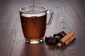 Cup Of Tea With Cinnamon Sticks And Chocolate Stock Photo - 31140160