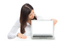 Woman With New Modern Popular Laptop Keyboard Royalty Free Stock Photography - 31152327
