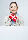 Smile Business Woman Hold Red Gift Box Royalty Free Stock Photography - 31154947
