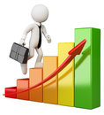 3D White People. Businessman Climbing A Bar Graph Stock Images - 31185294