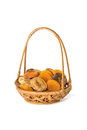 Dried Apricots And Figs In A Wicker Basket Isolated On White Royalty Free Stock Photo - 31189075