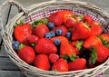Strawberries, Blueberries, Raspberries Mix In The Basket Stock Photos - 31199543