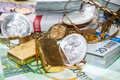 Euro Bills, Gold And Silver Stock Photo - 31218420