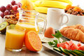 Breakfast With Coffee, Orange Juice, Croissant, Egg, Vegetables Stock Photos - 31229753